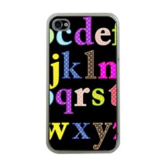 Alphabet Letters Colorful Polka Dots Letters In Lower Case Apple iPhone 4 Case (Clear)
