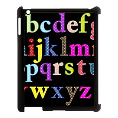 Alphabet Letters Colorful Polka Dots Letters In Lower Case Apple iPad 3/4 Case (Black)