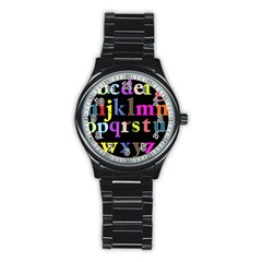 Alphabet Letters Colorful Polka Dots Letters In Lower Case Stainless Steel Round Watch