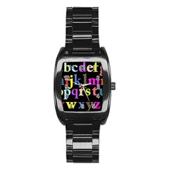 Alphabet Letters Colorful Polka Dots Letters In Lower Case Stainless Steel Barrel Watch