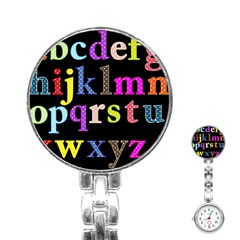 Alphabet Letters Colorful Polka Dots Letters In Lower Case Stainless Steel Nurses Watch