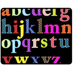 Alphabet Letters Colorful Polka Dots Letters In Lower Case Double Sided Fleece Blanket (Medium)