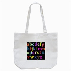 Alphabet Letters Colorful Polka Dots Letters In Lower Case Tote Bag (White)