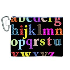 Alphabet Letters Colorful Polka Dots Letters In Lower Case Canvas Cosmetic Bag (XL)