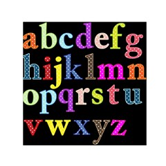 Alphabet Letters Colorful Polka Dots Letters In Lower Case Small Satin Scarf (Square)