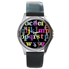 Alphabet Letters Colorful Polka Dots Letters In Lower Case Round Metal Watch