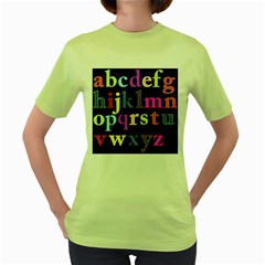 Alphabet Letters Colorful Polka Dots Letters In Lower Case Women s Green T Shirt