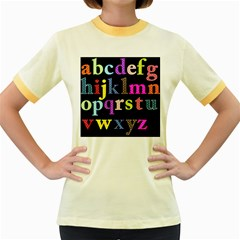 Alphabet Letters Colorful Polka Dots Letters In Lower Case Women s Fitted Ringer T-Shirts