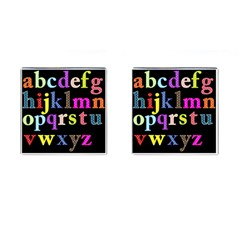 Alphabet Letters Colorful Polka Dots Letters In Lower Case Cufflinks (square)