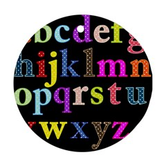 Alphabet Letters Colorful Polka Dots Letters In Lower Case Round Ornament (Two Sides)