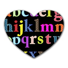 Alphabet Letters Colorful Polka Dots Letters In Lower Case Heart Mousepads