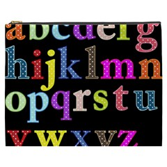 Alphabet Letters Colorful Polka Dots Letters In Lower Case Cosmetic Bag (XXXL)