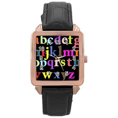 Alphabet Letters Colorful Polka Dots Letters In Lower Case Rose Gold Leather Watch