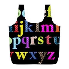Alphabet Letters Colorful Polka Dots Letters In Lower Case Full Print Recycle Bags (l)