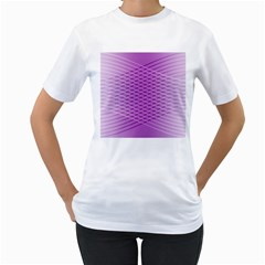 Abstract Lines Background Pattern Women s T Shirt (white) (two Sided)