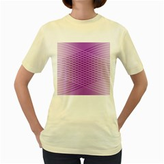 Abstract Lines Background Pattern Women s Yellow T-Shirt