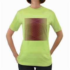 Abstract Lines Background Pattern Women s Green T Shirt