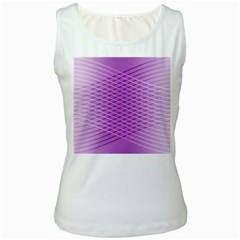 Abstract Lines Background Pattern Women s White Tank Top