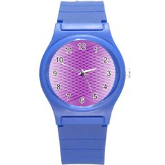 Abstract Lines Background Pattern Round Plastic Sport Watch (S)