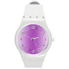 Abstract Lines Background Pattern Round Plastic Sport Watch (M)