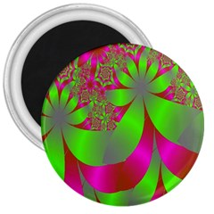 Green And Pink Fractal 3  Magnets
