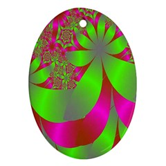 Green And Pink Fractal Ornament (Oval)