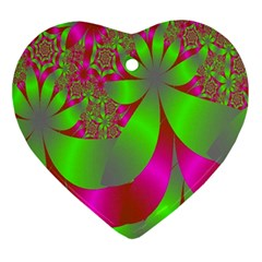 Green And Pink Fractal Ornament (heart)