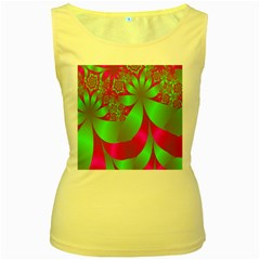 Green And Pink Fractal Women s Yellow Tank Top