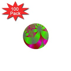 Green And Pink Fractal 1  Mini Magnets (100 Pack)