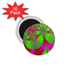 Green And Pink Fractal 1 75  Magnets (10 Pack)