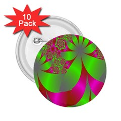 Green And Pink Fractal 2 25  Buttons (10 Pack)