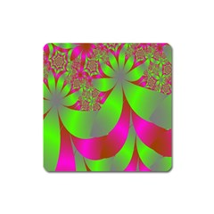 Green And Pink Fractal Square Magnet