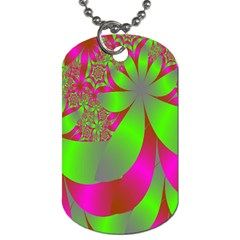 Green And Pink Fractal Dog Tag (One Side)