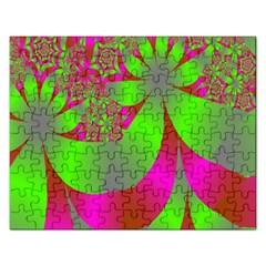 Green And Pink Fractal Rectangular Jigsaw Puzzl