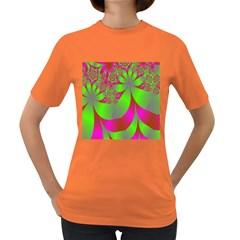 Green And Pink Fractal Women s Dark T Shirt
