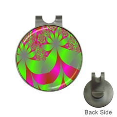Green And Pink Fractal Hat Clips With Golf Markers