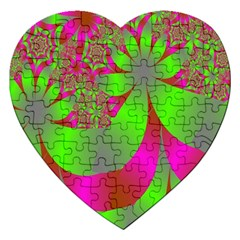 Green And Pink Fractal Jigsaw Puzzle (Heart)