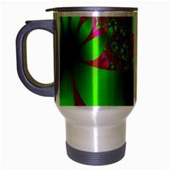 Green And Pink Fractal Travel Mug (Silver Gray)