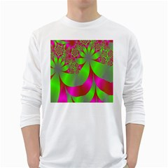Green And Pink Fractal White Long Sleeve T Shirts