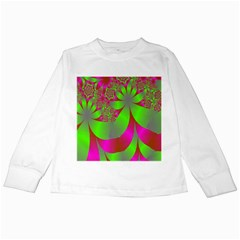 Green And Pink Fractal Kids Long Sleeve T Shirts