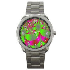 Green And Pink Fractal Sport Metal Watch