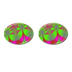 Green And Pink Fractal Cufflinks (Oval)