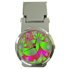 Green And Pink Fractal Money Clip Watches