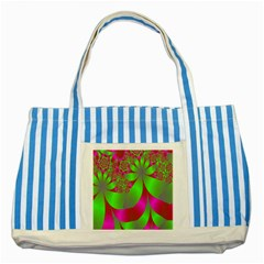 Green And Pink Fractal Striped Blue Tote Bag