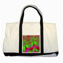 Green And Pink Fractal Two Tone Tote Bag