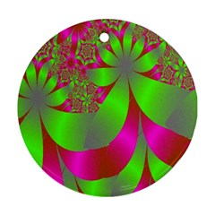 Green And Pink Fractal Round Ornament (Two Sides)