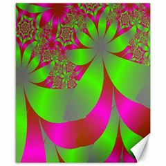 Green And Pink Fractal Canvas 8  X 10