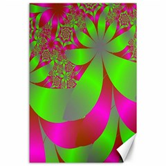Green And Pink Fractal Canvas 24  X 36