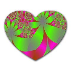 Green And Pink Fractal Heart Mousepads