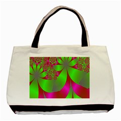Green And Pink Fractal Basic Tote Bag (two Sides)